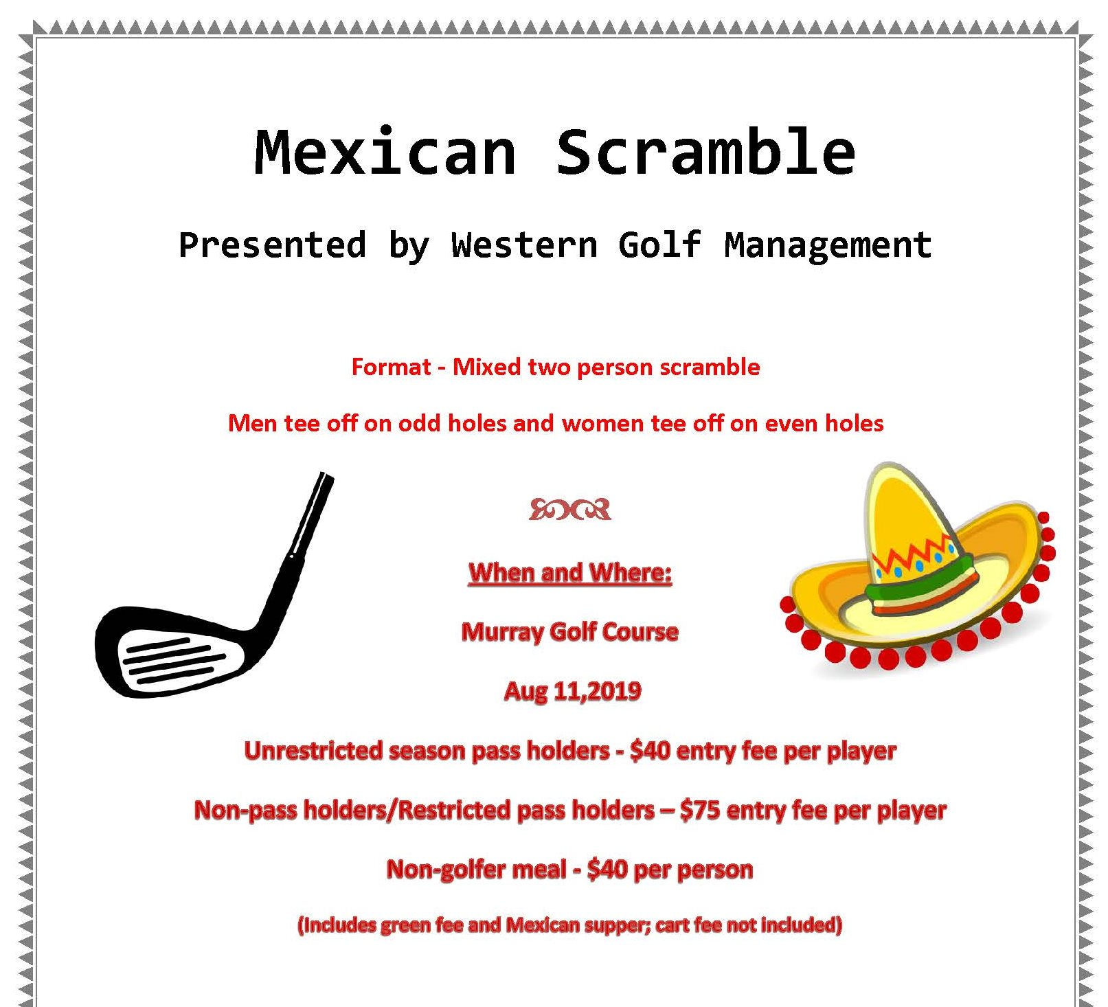 Mexican Scramble Golf Tournament - Hospitals of Regina